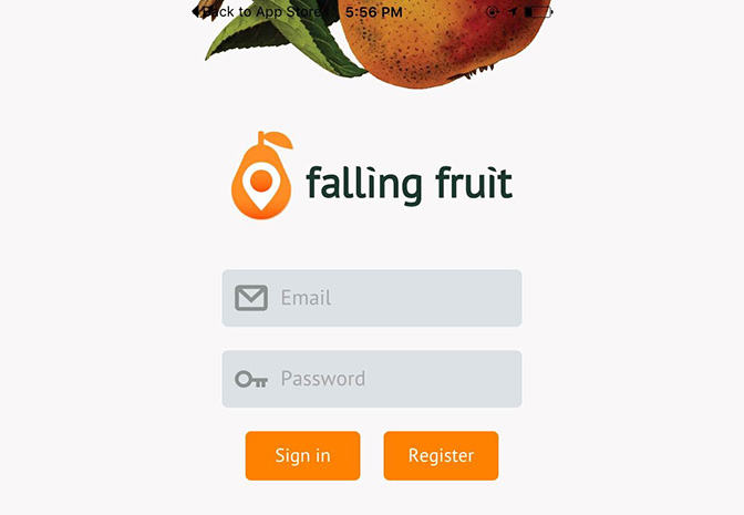 Falling Fruit Mobile App Screenshot